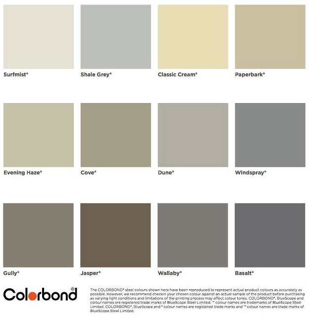Whether your home is modern or traditional COLORBOND® steel gives you the ability to create the right colour scheme for your garage door.  sc 1 st  Door Systems Australia & DSA » Colorbond® Colour Chart