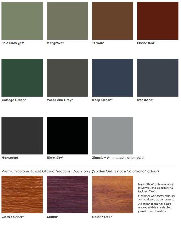 Dsa Colorbond 174 Colour Chart Dsa
